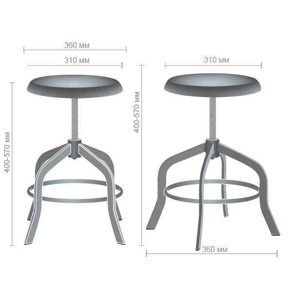 Utah adjustable stool - Фото №5