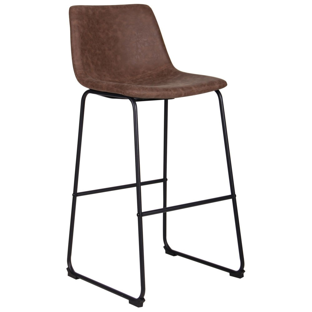 Arizona bar chair – brown – fauxnubuk - Фото №1